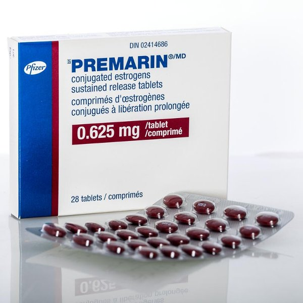 Premarin® tablet package. You can see it clearly states conjugated estrogens.