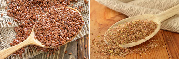 You can grind flax seeds yourself in a blender or coffee grinder or you can buy them already ground. Flax seeds should not look like the ones on the left when you eat them. They should look like the ones on the right. Source: Clean Cuisine.