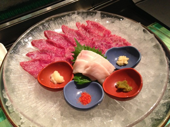 An example of raw, sliced horse meat, served in Japan called Basashi.