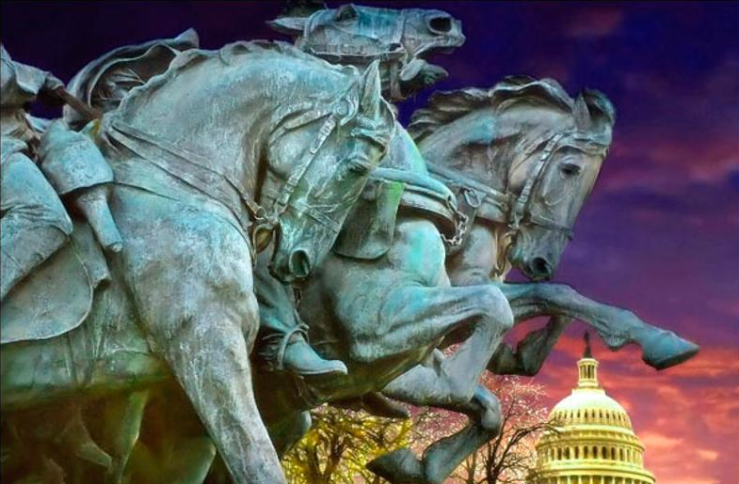 Galloping horse statuary near Capitol Hill in Washington D.C. Photographer unknown.