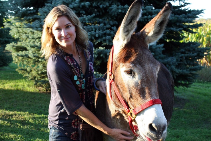 Sister Darbie and Casey's Safe Haven resident donkey Petunia. Image from their website.