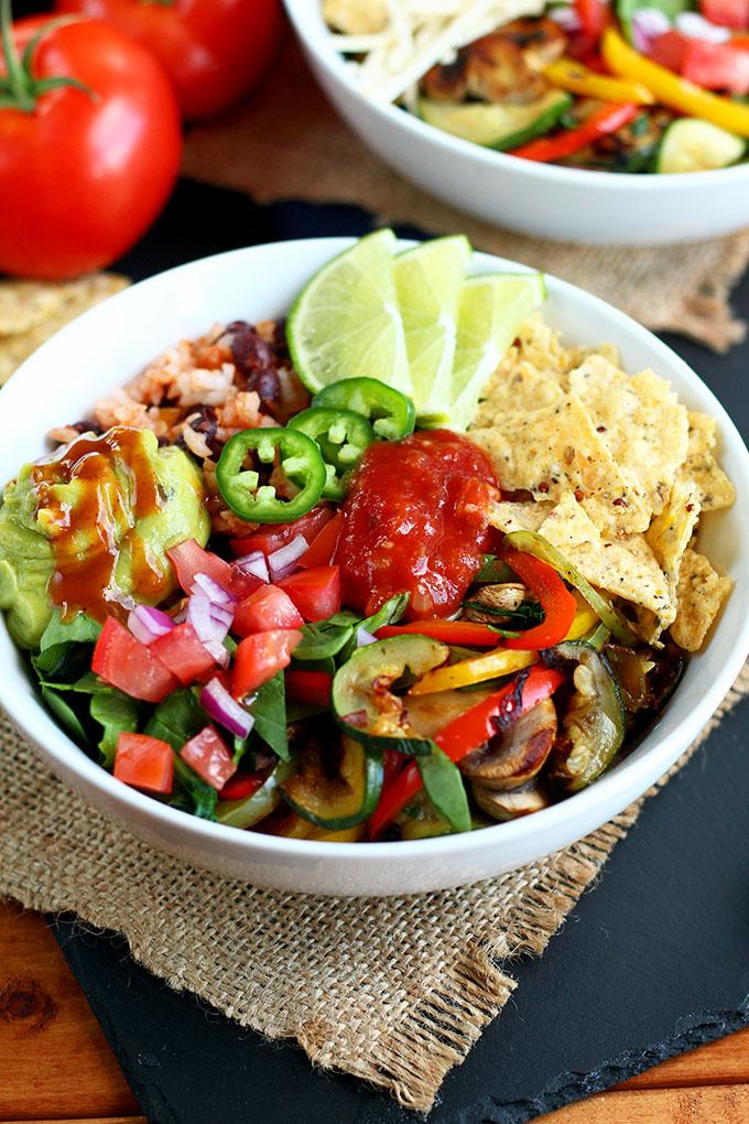 Grilled Veggie Taco Bowl by I Love Vegan. Click to visit website.