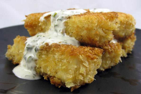 Vegan beer battered tofu sticks with ranch dressing. Click to visit source.