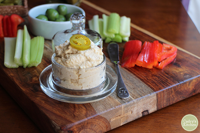 Jalapeño cashew cheese is a delicious addition to a vegan cheese board or use it as a sandwich spread. From Cadry's Kitchen.