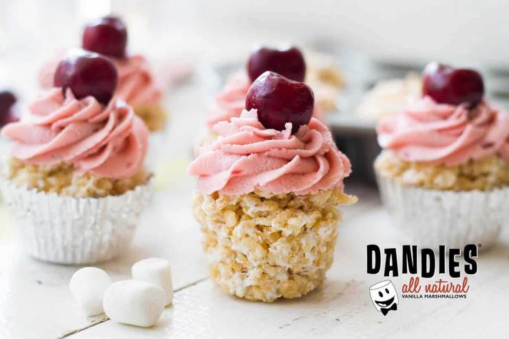 Cherry Vanilla Crispy Treat Cupcakes made with Dandies marshmallows. Click to visit recipe.