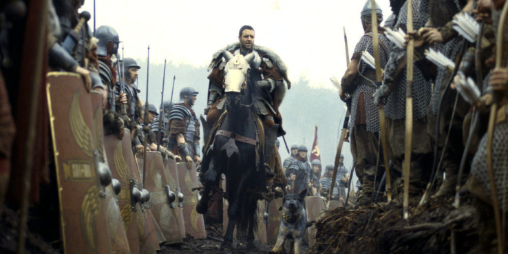 Russell Crowe in Gladiator aboard a horse he became friends with.