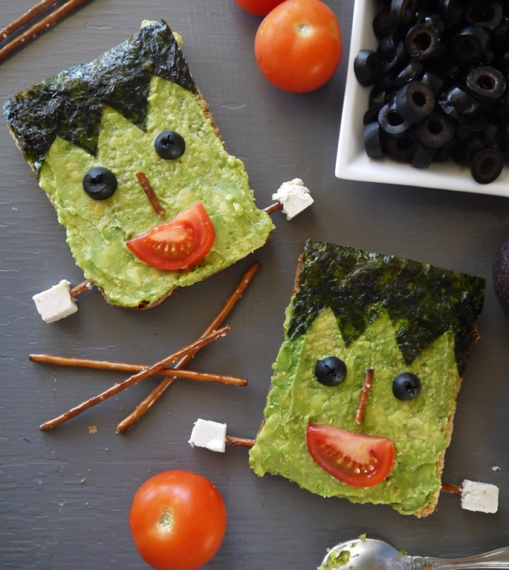 Vegan Frankenstein avocado toast from Vegan Chow Down. Click to visit recipe.