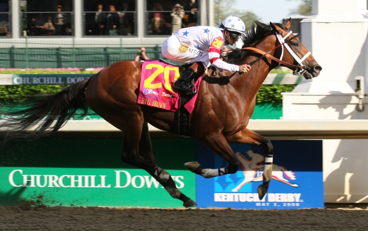 Big Brown wins the Kentucky Derby in 2008. Image: Photo: Reed Palmer/Churchill Downs.