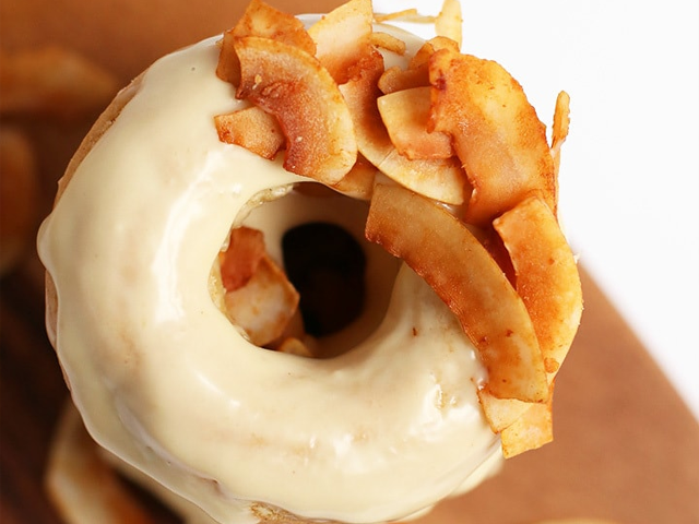 Vegan maple donut with coconut bacon by My Darling Vegan.