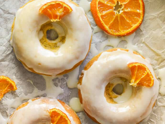 Sticky Orange Olive Oil Baked Donuts by Virtual Vegan.