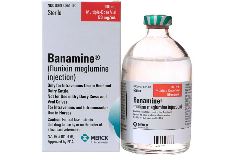 "The label reads, ""Banamine Injectable Solution in as anti-inflammatory and analgesic. Used in horses for the alleviation of inflammation and pain associated with musculoskeletal disorders and for the alleviation of visceral pain associated with colic. Each ml of Banamine Injectable Solution contains flunixin meglumine equivalent to 50 mg flunixin."