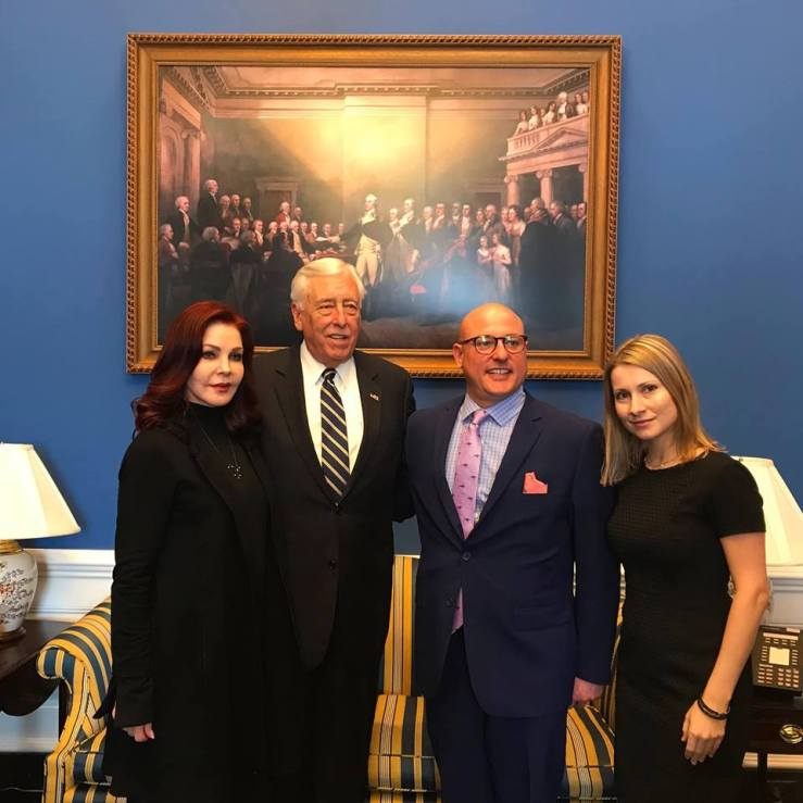 Priscilla Presley, U.S. House Majority Leader Steny Hoyer (D-MD), Holly Gann, and Marty Irby on Capitol Hill Discussing the PAST Act.