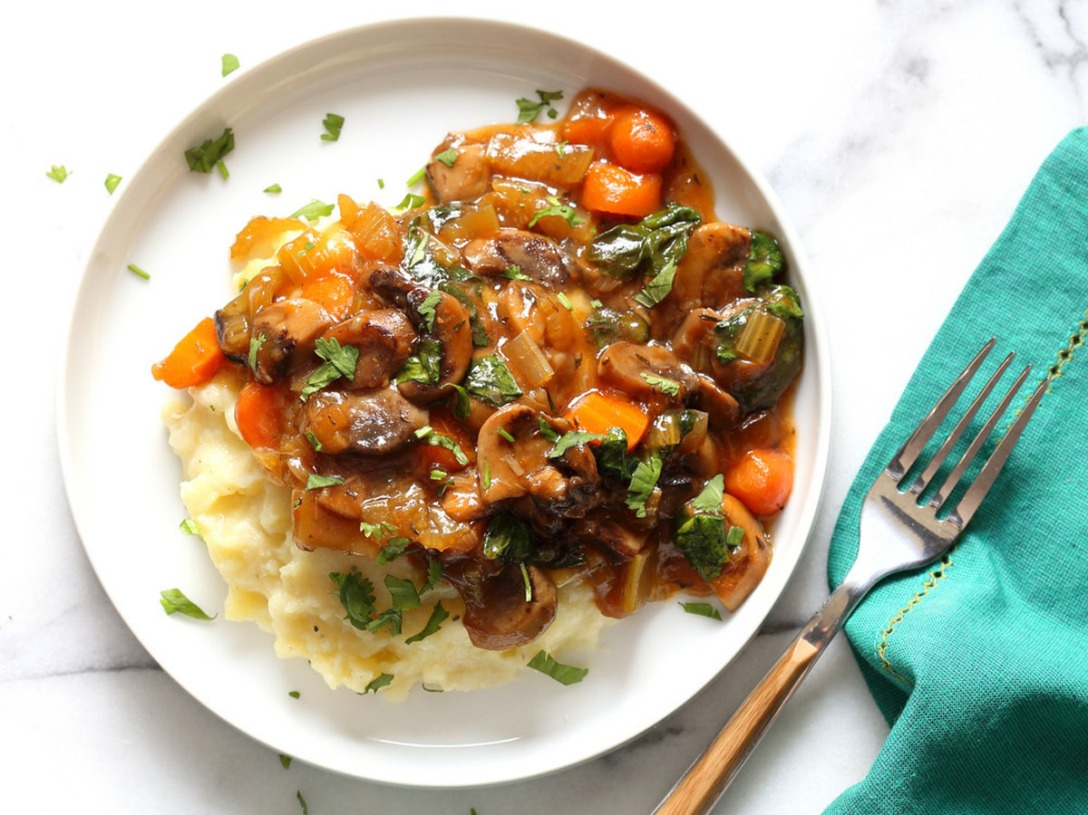 Vegan Mushroom Bourguignon With Potato Cauliflower Mash – Instant Pot, by Vegan Richa.