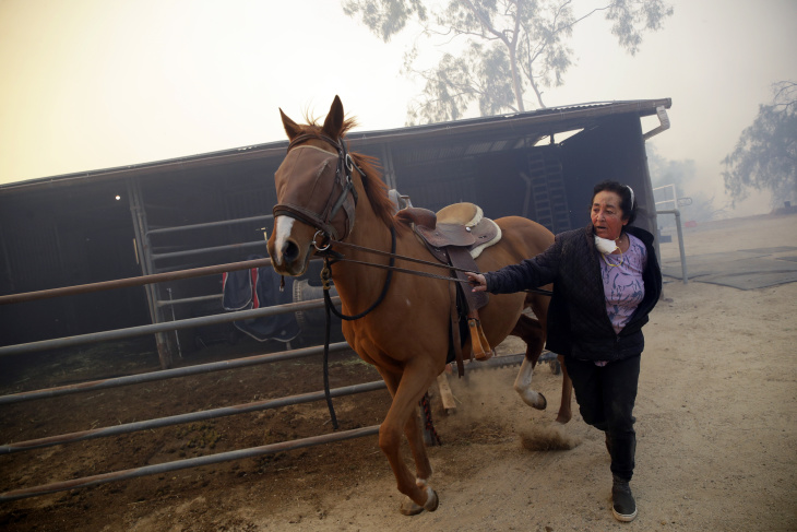 Cheryl Kanan evacuates with her horse Aries as the Easy fire approaches Wednesday, Oct. 30, 2019, in Simi Valley, Calif. A new wildfire erupted Wednesday in wind-whipped Southern California, forcing the evacuation of the Ronald Reagan Presidential Library and nearby homes, as both ends of the state struggled with blazes, dangerously gusty weather and deliberate blackouts. (AP Photo/Marcio Jose Sanchez)