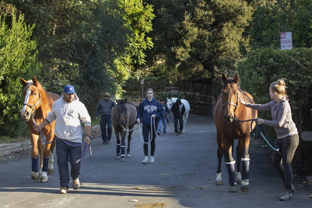 Stephanie Nagler, right, helps evacuate horses from the Sullivan Canyon Equestrian Community in Brentwood on Tuesday.(Mel Melcon / Los Angeles Times)