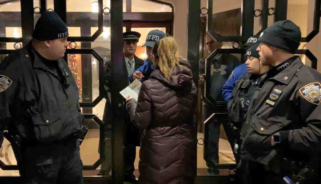 n angry neighbor attempts to enter Andrew Lustgarten's building to complain about the protest against rodeos at MSG.