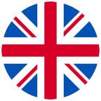 Circular Union Jack Flag Icon.