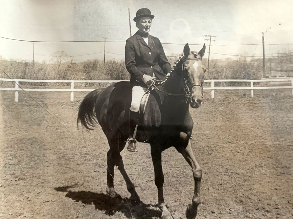 Eve Mainwaring, Canada's First Lady of Horses, in her younger days on horseback.