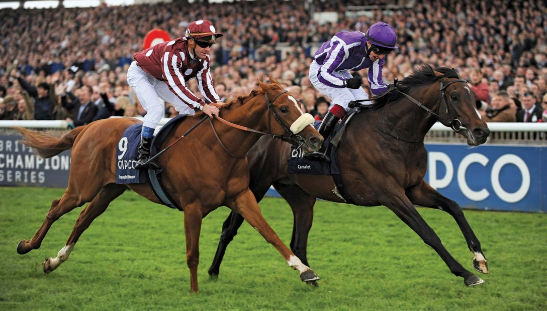 Camelot (right), ridden by Joseph O'Brien, after beating French Fifteenth to win the Two Thousand Guineas, Newmarket, Suffolk, England, 2012. Press Association/AP