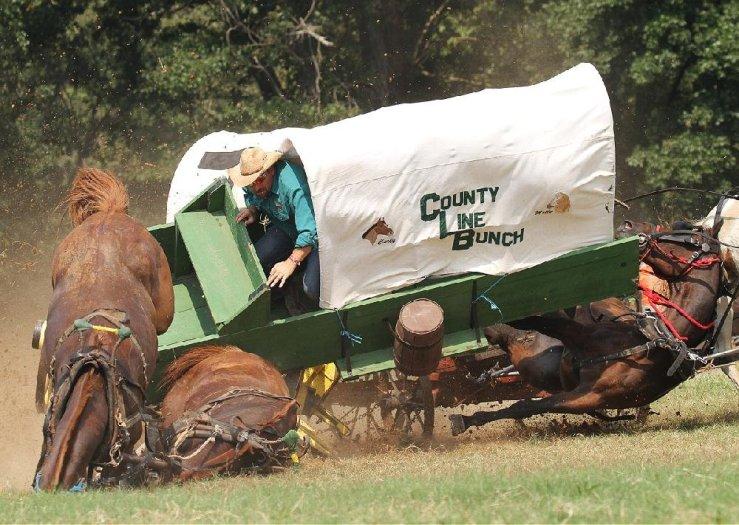 Arkansas Democrat-Gazette/BENJAMIN KRAIN Chuckwagon driver watches as horses are crushed as his wagon turns over in the 30th Annual National Championship Chuckwagon Race in Clinton.